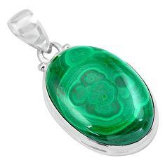 25.28cts natural green malachite (pilot's stone) 925 silver pendant p86011