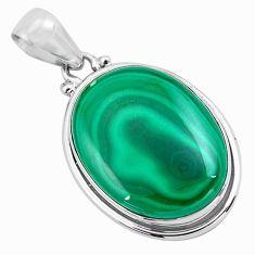 25.00cts natural green malachite (pilot's stone) 925 silver pendant p86020