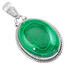27.13cts natural green malachite (pilot's stone) 925 silver pendant p86023
