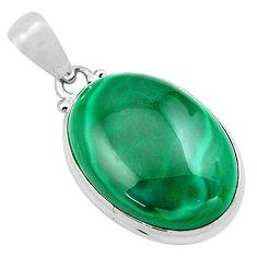 29.93cts natural green malachite (pilot's stone) 925 silver pendant p86026
