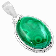 29.76cts natural green malachite (pilot's stone) 925 silver pendant p86032