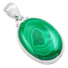 25.93cts natural green malachite (pilot's stone) 925 silver pendant p86035