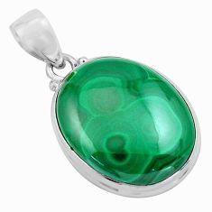 27.10cts natural green malachite (pilot's stone) 925 silver pendant p86038