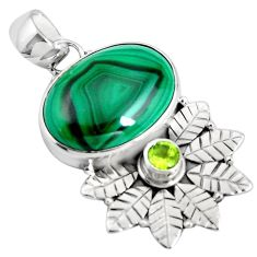 14.23cts natural green malachite (pilot's stone) 925 silver pendant p90272