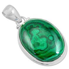 24.38cts natural green malachite (pilot's stone) 925 silver pendant p90307