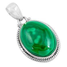 26.16cts natural green malachite (pilot's stone) 925 silver pendant p90312