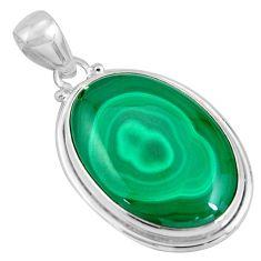 28.73cts natural green malachite (pilot's stone) 925 silver pendant p90314