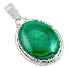 25.62cts natural green malachite (pilot's stone) 925 silver pendant p90319