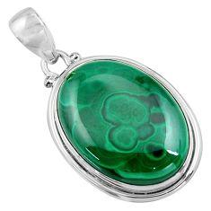 29.34cts natural green malachite (pilot's stone) 925 silver pendant p90843