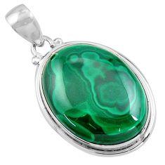 28.73cts natural green malachite (pilot's stone) 925 silver pendant p90846