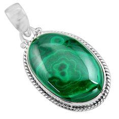 25.28cts natural green malachite (pilot's stone) 925 silver pendant p90849