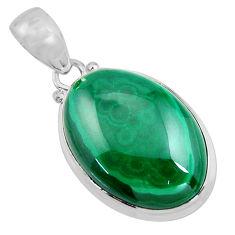 24.33cts natural green malachite (pilot's stone) 925 silver pendant p90852