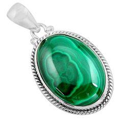 24.33cts natural green malachite (pilot's stone) 925 silver pendant p90854