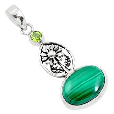 14.45cts natural green malachite (pilot's stone) silver flower pendant p56821