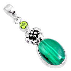 14.83cts natural green malachite (pilot's stone) silver flower pendant p56827