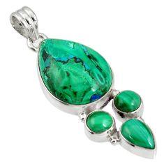 23.70cts natural green malachite in chrysocolla malachite silver pendant p90358