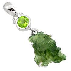 8.43cts natural green moldavite (genuine czech) peridot silver pendant p87099
