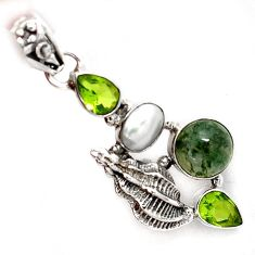 NATURAL GREEN MOSS AGATE PERIDOT 925 STERLING SILVER SEA SHELL PENDANT A1544