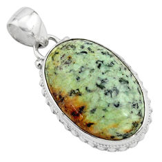 16.20cts natural green norwegian turquoise 925 sterling silver pendant p85170