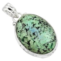 15.08cts natural green norwegian turquoise 925 sterling silver pendant p85173