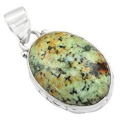 14.72cts natural green norwegian turquoise 925 sterling silver pendant p85178