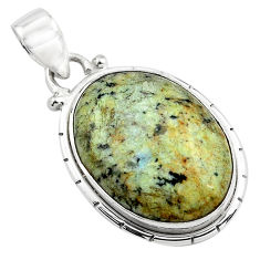 14.72cts natural green norwegian turquoise 925 sterling silver pendant p85187