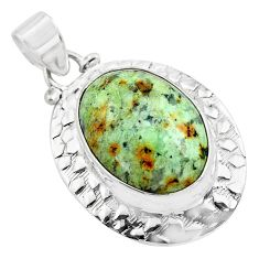 17.40cts natural green norwegian turquoise 925 sterling silver pendant p85191