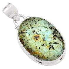 14.72cts natural green norwegian turquoise 925 sterling silver pendant p85216