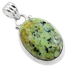 14.12cts natural green norwegian turquoise 925 sterling silver pendant p85488