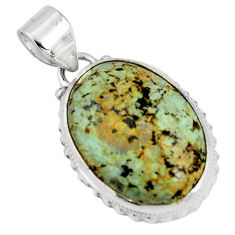 15.31cts natural green norwegian turquoise 925 sterling silver pendant p90490