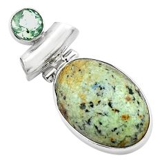 16.20cts natural green norwegian turquoise amethyst 925 silver pendant p85196
