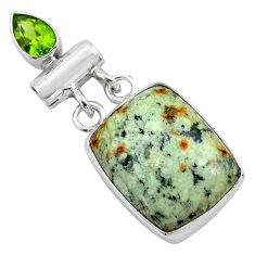15.08cts natural green norwegian turquoise peridot 925 silver pendant p85198