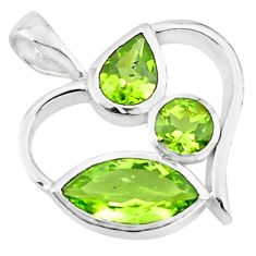 6.39cts natural green peridot 925 sterling silver heart pendant jewelry p73789