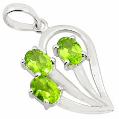 4.52cts natural green peridot 925 sterling silver pendant jewelry p82069