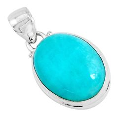 12.58cts natural green peruvian amazonite 925 sterling silver pendant p47581