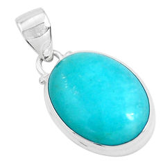 14.23cts natural green peruvian amazonite 925 sterling silver pendant p47587