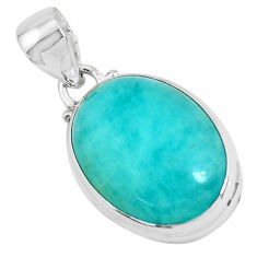 13.73cts natural green peruvian amazonite 925 sterling silver pendant p47596