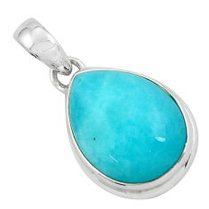18.15cts natural green peruvian amazonite 925 sterling silver pendant p59653