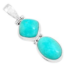 11.46cts natural green peruvian amazonite 925 sterling silver pendant p67745