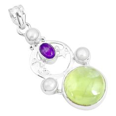 Clearance Sale- 18.17cts natural green prehnite 925 silver crescent moon star pendant d31016