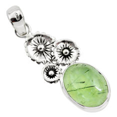 11.19cts natural green prehnite 925 sterling silver flower pendant p55187