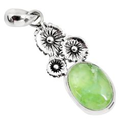 11.44cts natural green prehnite 925 sterling silver flower pendant p55193
