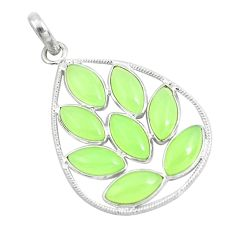 Clearance Sale- 19.40cts natural green prehnite 925 sterling silver pendant jewelry d31278