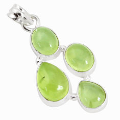 15.76cts natural green prehnite 925 sterling silver pendant jewelry p34022
