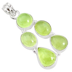 18.22cts natural green prehnite 925 sterling silver pendant jewelry p34029