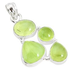 15.76cts natural green prehnite 925 sterling silver pendant jewelry p34030