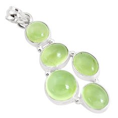 19.87cts natural green prehnite 925 sterling silver pendant jewelry p34033