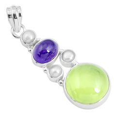 Clearance Sale- 19.56cts natural green prehnite amethyst 925 sterling silver pendant d31015