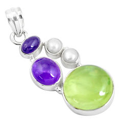 Clearance Sale- 20.33cts natural green prehnite amethyst 925 sterling silver pendant d31031