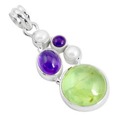 Clearance Sale- 20.15cts natural green prehnite amethyst 925 sterling silver pendant d31032